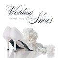Wedding shoes carnations and necklace a pair of white leather women s with heels a bouquet of pearl isolated Stock Image