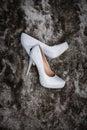 Wedding shoes on a carpet black during bridal prep Stock Images