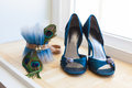 Wedding Shoes and Peacock Garter Royalty Free Stock Photo