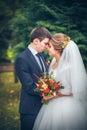 Wedding shot of bride and groom in park