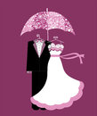 Wedding shower bride and groom umbrella Stock Photos