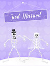 Wedding of skeletons illustration Stock Photography