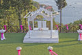 Wedding stage ceremony in garden at sea shore istanbul Royalty Free Stock Images