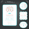 Wedding Stationary Typography Style Set in Turquoise and Coral