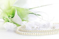 Wedding still life with necklace and bouquet Royalty Free Stock Photo
