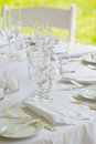 Wedding table in all white Stock Photography
