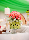 Wedding table arrangement Stock Photo