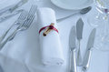 Wedding table arrangement a towel with ribbon ant cynammon forks and knives on a Stock Photos