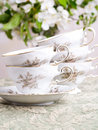 Wedding Table China Coffee Cups Stock Photo