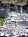 Wedding table decor bouquet and wine glass Stock Photos