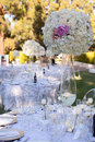 Wedding table decor bouquet and wine glass Royalty Free Stock Photo