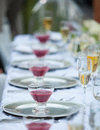 Wedding table decor bouquet and wine glass Royalty Free Stock Photography