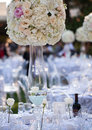 Wedding table decor and flower bouquet center piece with settings Stock Image