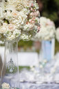 Wedding table decor and flower bouquet center piece with settings Royalty Free Stock Photo