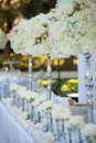 Wedding table decor and flower bouquet center piece with settings Stock Images