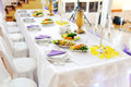 Wedding table decorated at restaurant Royalty Free Stock Photography