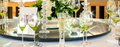 Wedding table display close up with wine glasses and decoration Royalty Free Stock Image