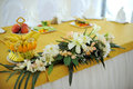 Wedding table flower decoration restaurant Royalty Free Stock Photos