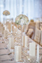 Wedding table with flowers and decorations, wedding or event reception Royalty Free Stock Photo