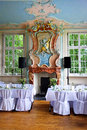 Wedding table gorgeous chair and setting for fine dining in a wonderful old room Stock Photography