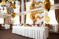 Wedding table with holiday ballons Royalty Free Stock Image