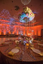 The wedding table reception with candles and flowers Stock Photo
