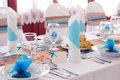 Wedding table set blue and brown decorations Royalty Free Stock Images