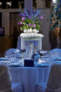 Wedding table set centerpiece for newlyweds Royalty Free Stock Image
