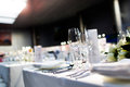 Wedding table set for dining indoor party Royalty Free Stock Photo