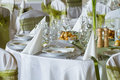 Wedding table set elegant white green decoration Royalty Free Stock Photos