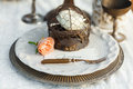 Wedding table setting in the old style Royalty Free Stock Photo