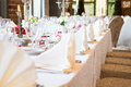 Wedding table view of a in france with white tablecloth Royalty Free Stock Images