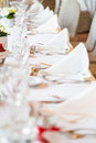 Wedding table view of a in france with white tablecloth Stock Image