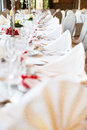Wedding table view of a in france with white tablecloth Royalty Free Stock Photography
