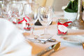 Wedding table view of a in france with white tablecloth Stock Photography