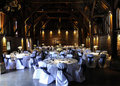 Laid tables at wedding reception Royalty Free Stock Photo