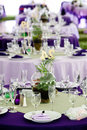 Wedding tables in Green and Purple Royalty Free Stock Photography