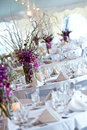 Wedding tables set for fine dining Royalty Free Stock Photography