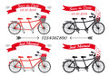 Wedding tandem bicycles, vector set Stock Photo