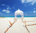 Wedding tent on a beach at Maldives island Stock Image