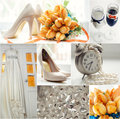 Wedding theme collage in orange color Royalty Free Stock Photos