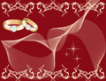 Wedding theme with golden rings Royalty Free Stock Photo