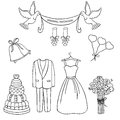 Wedding theme pattern. Cute and detailed set. Wedding dress, bouquet, cake