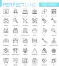 Wedding thin line web icons set. Outline icon design.