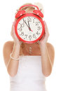 Wedding. Time to get married. Bride with alarm clock. Royalty Free Stock Photo