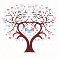 The wedding tree in the shape of a heart with two birds Royalty Free Stock Photo