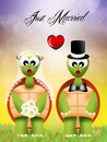 Wedding of turtles illustration in love Stock Photo