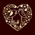 Wedding of two birds among the flowers. Openwork heart wreath of flowers. Laser cutting or foiling template.