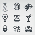 Wedding vector icon set Stock Photos