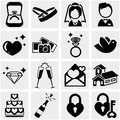 Wedding vector icon set on gray Royalty Free Stock Photo